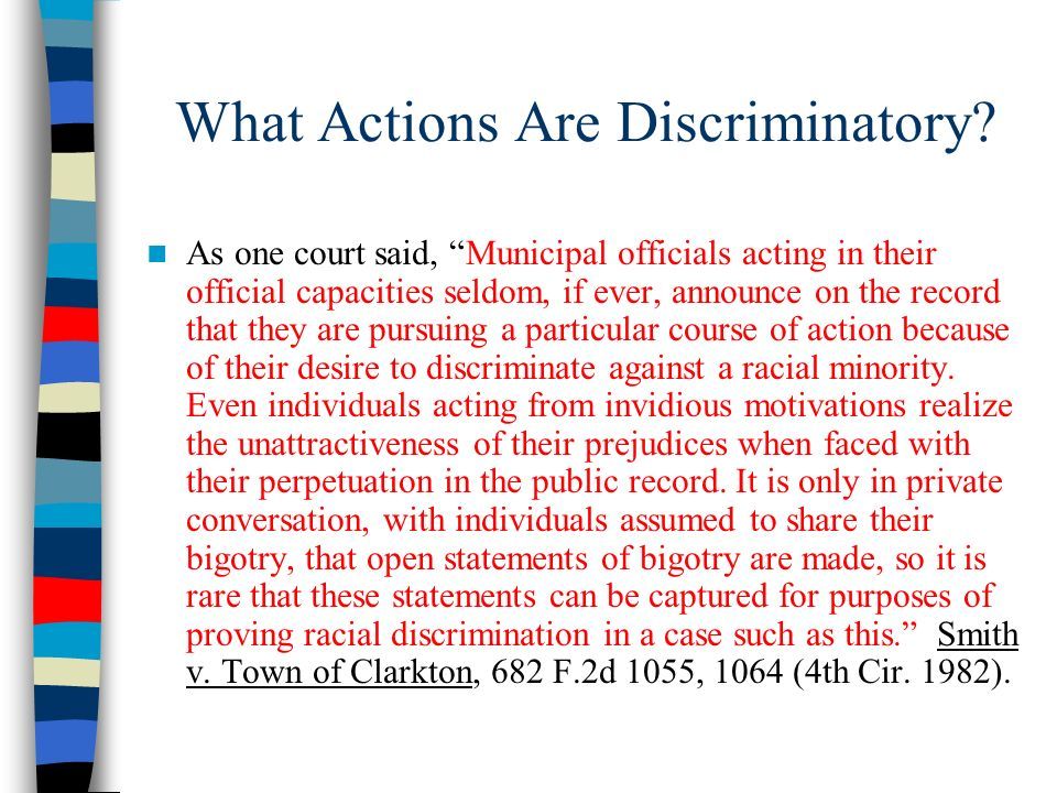 What Actions Are Discriminatory