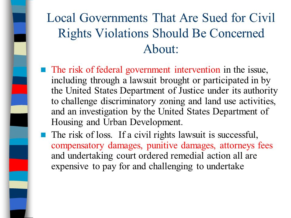 Local Governments That Are Sued for Civil Rights Violations Should Be Concerned About: