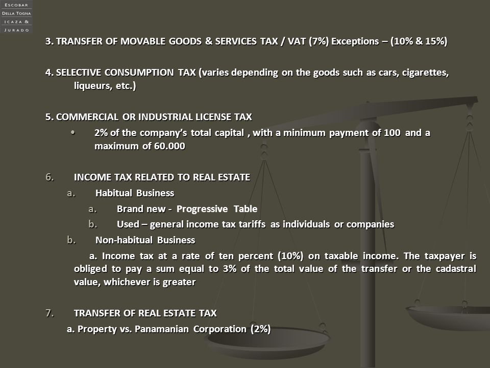 3. TRANSFER OF MOVABLE GOODS & SERVICES TAX / VAT (7%) Exceptions – (10% & 15%)
