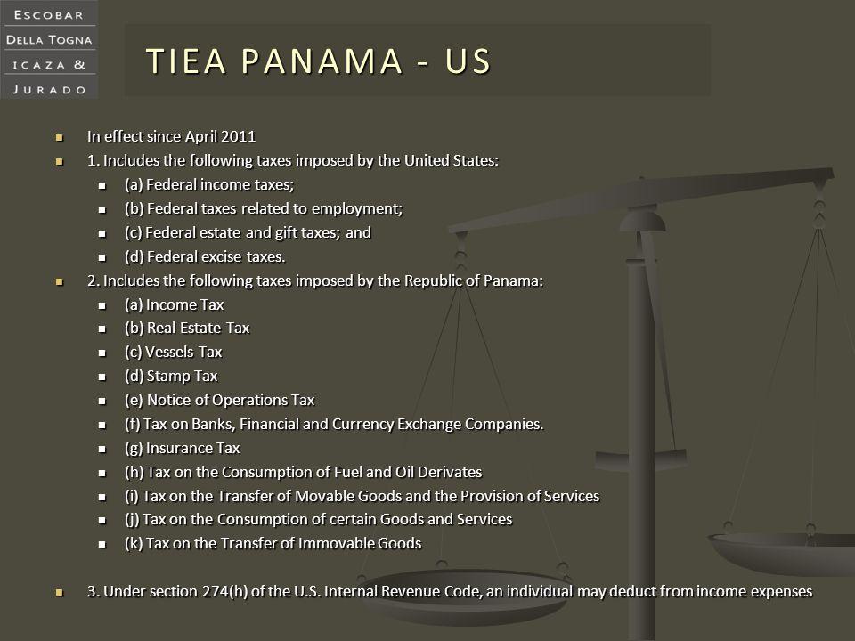 TIEA PANAMA - US In effect since April 2011