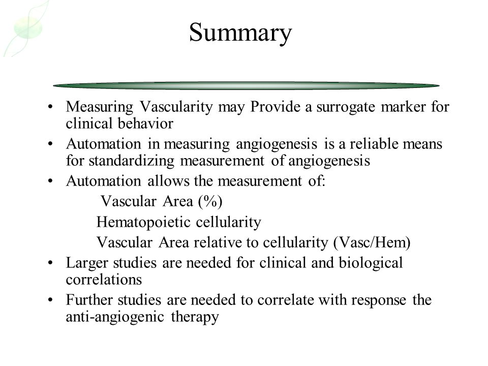 Summary Measuring Vascularity may Provide a surrogate marker for clinical behavior.