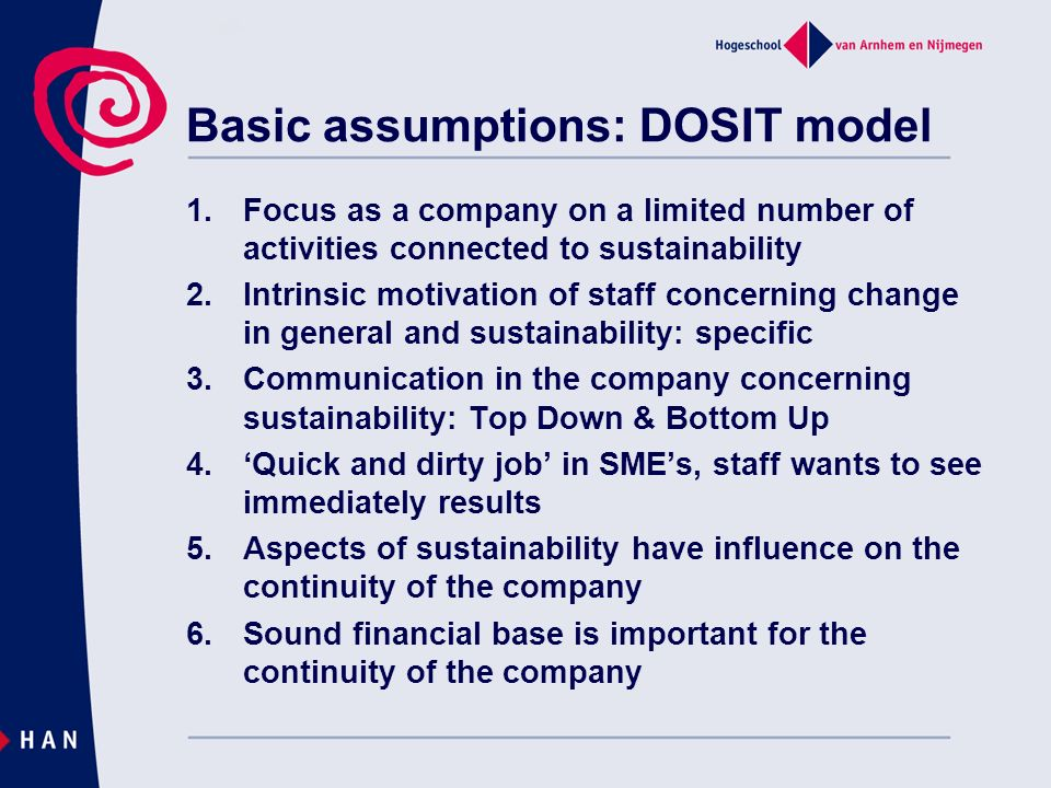 Basic assumptions: DOSIT model