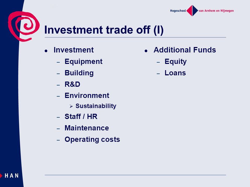 Investment trade off (I)