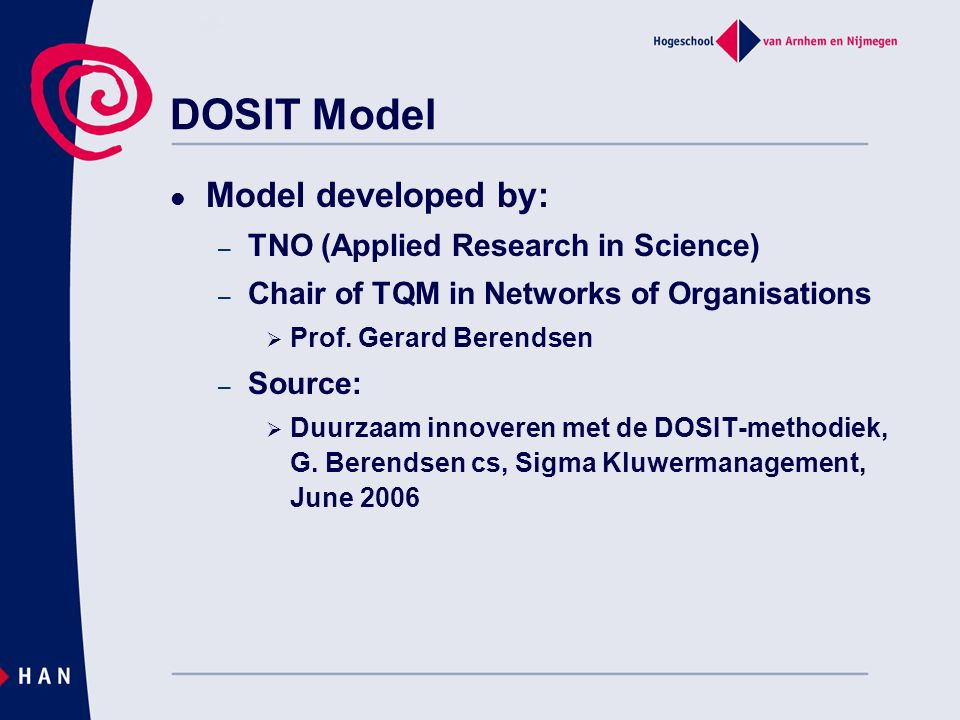 DOSIT Model Model developed by: TNO (Applied Research in Science)