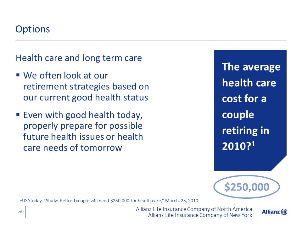 The average health care cost for a couple retiring in 2010 1
