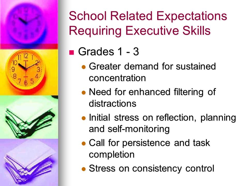 School Related Expectations Requiring Executive Skills