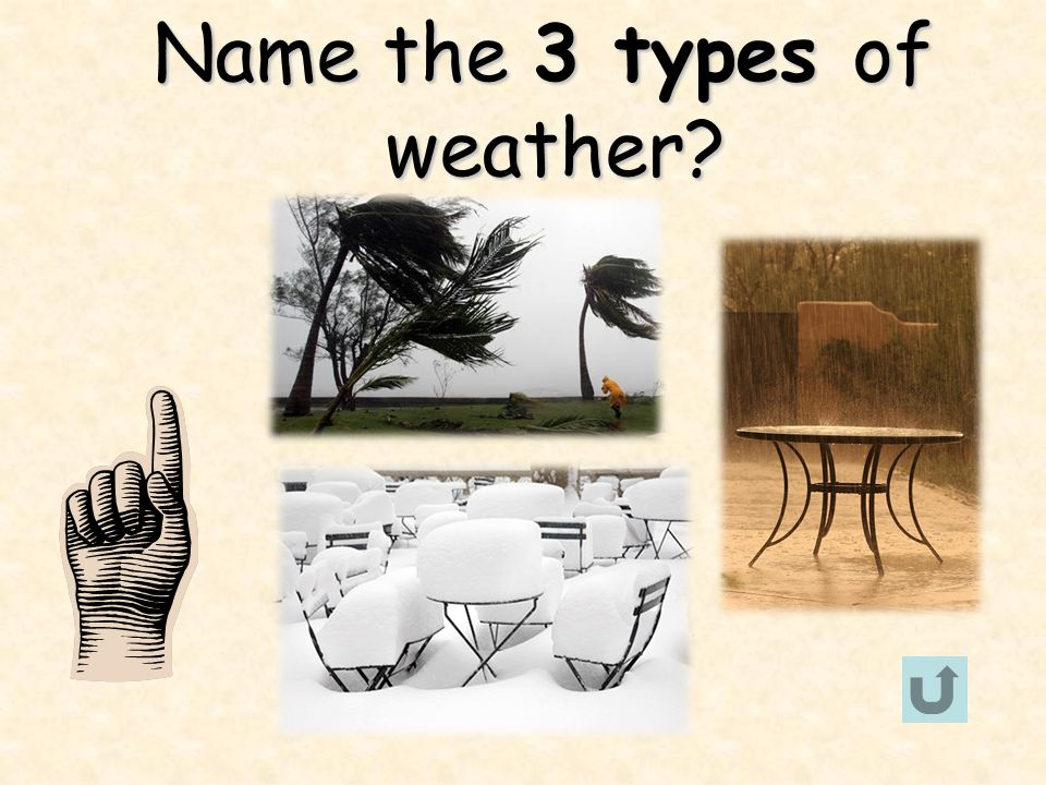 Name the 3 types of weather