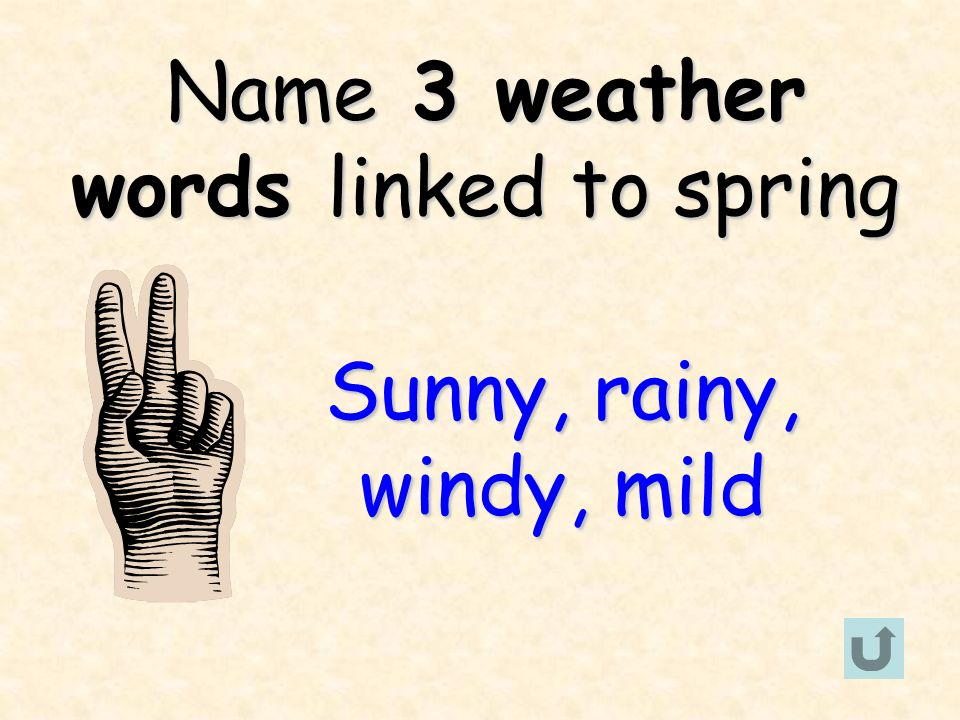 Name 3 weather words linked to spring