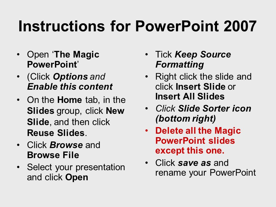Instructions for PowerPoint 2007