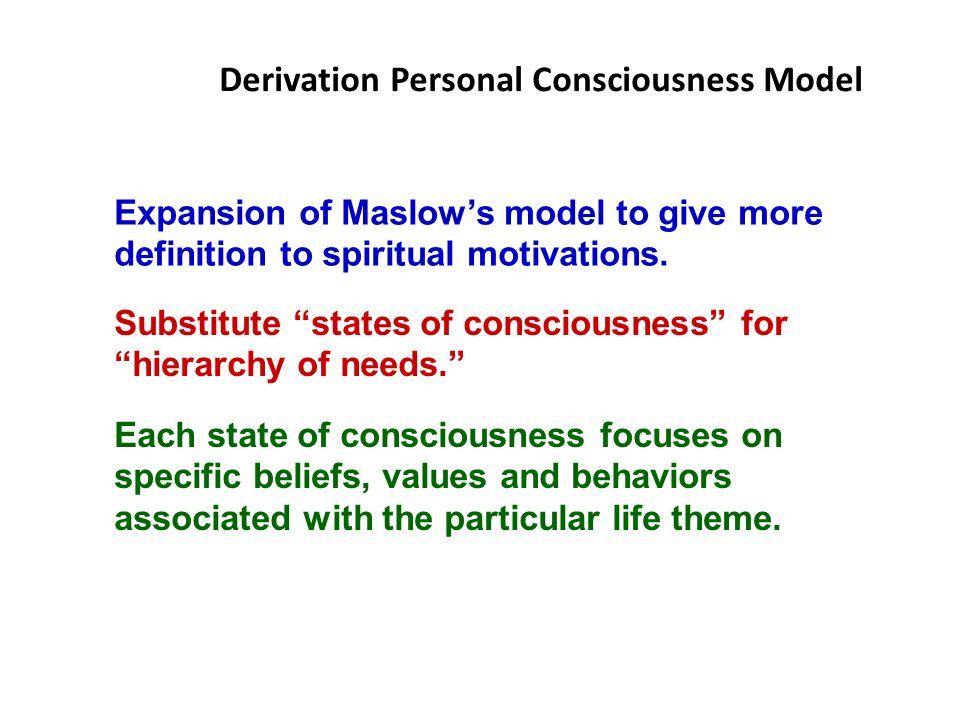 Derivation Personal Consciousness Model