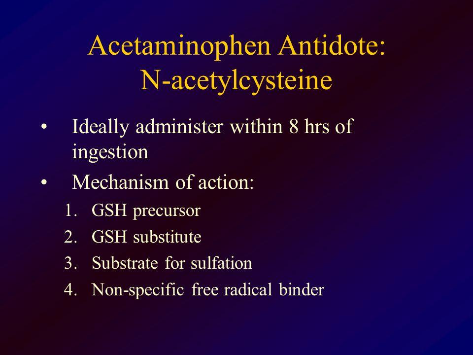 Acetaminophen Antidote: N-acetylcysteine