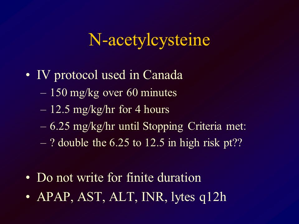 N-acetylcysteine IV protocol used in Canada