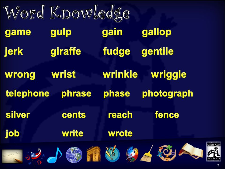 Word Knowledge Word Knowledge 1 game gulp gain gallop