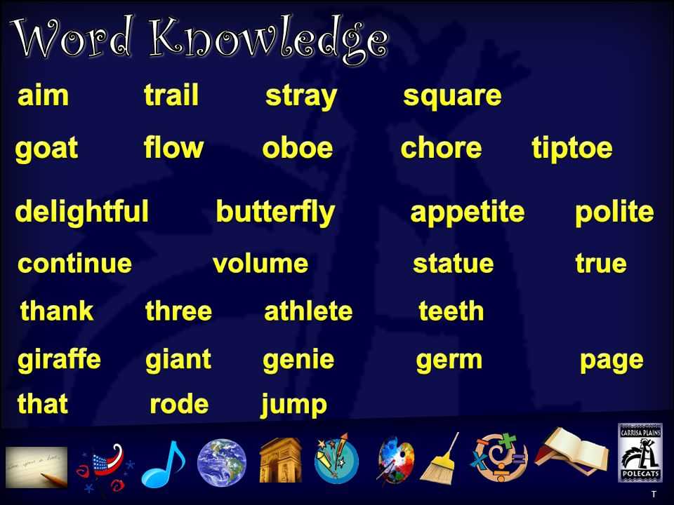Word Knowledge Word Knowledge 2 aim trail stray square
