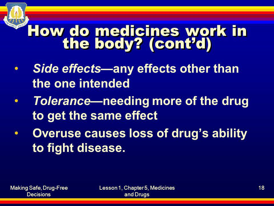 How do medicines work in the body (cont'd)