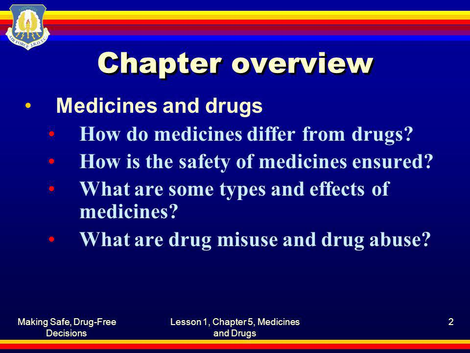 Chapter overview Medicines and drugs