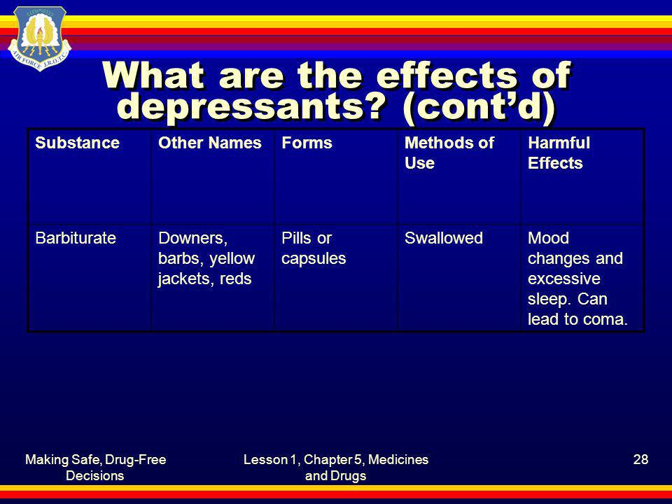 What are the effects of depressants (cont'd)