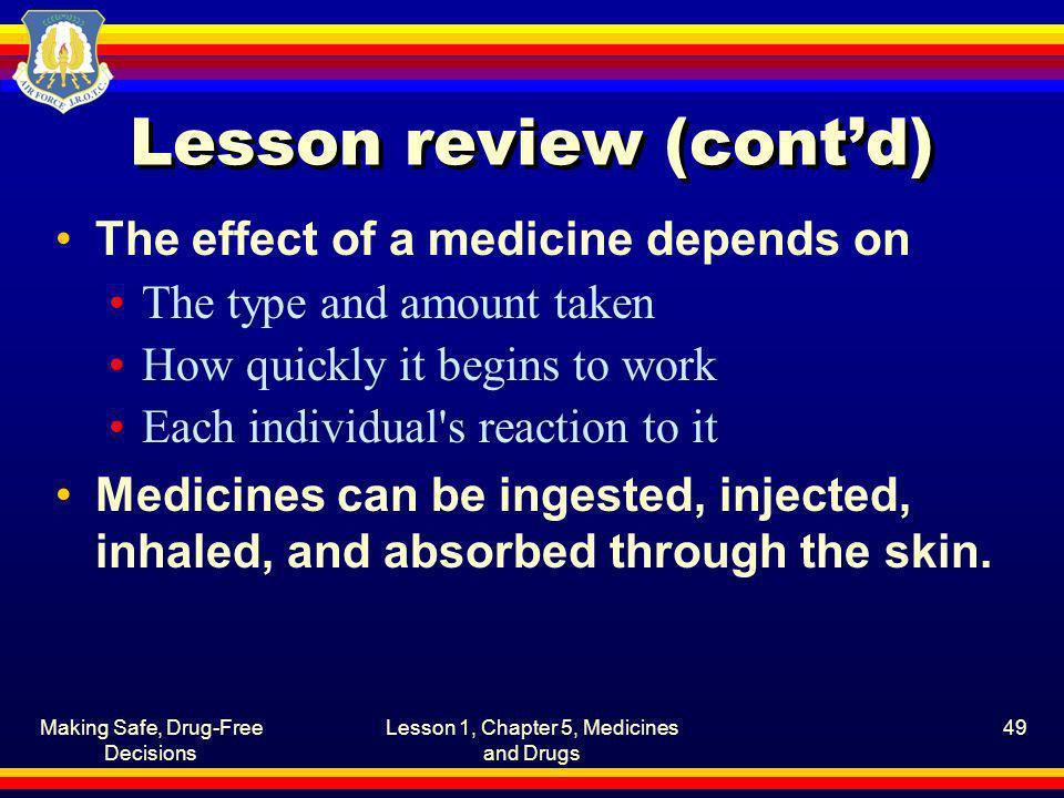 Lesson review (cont'd)