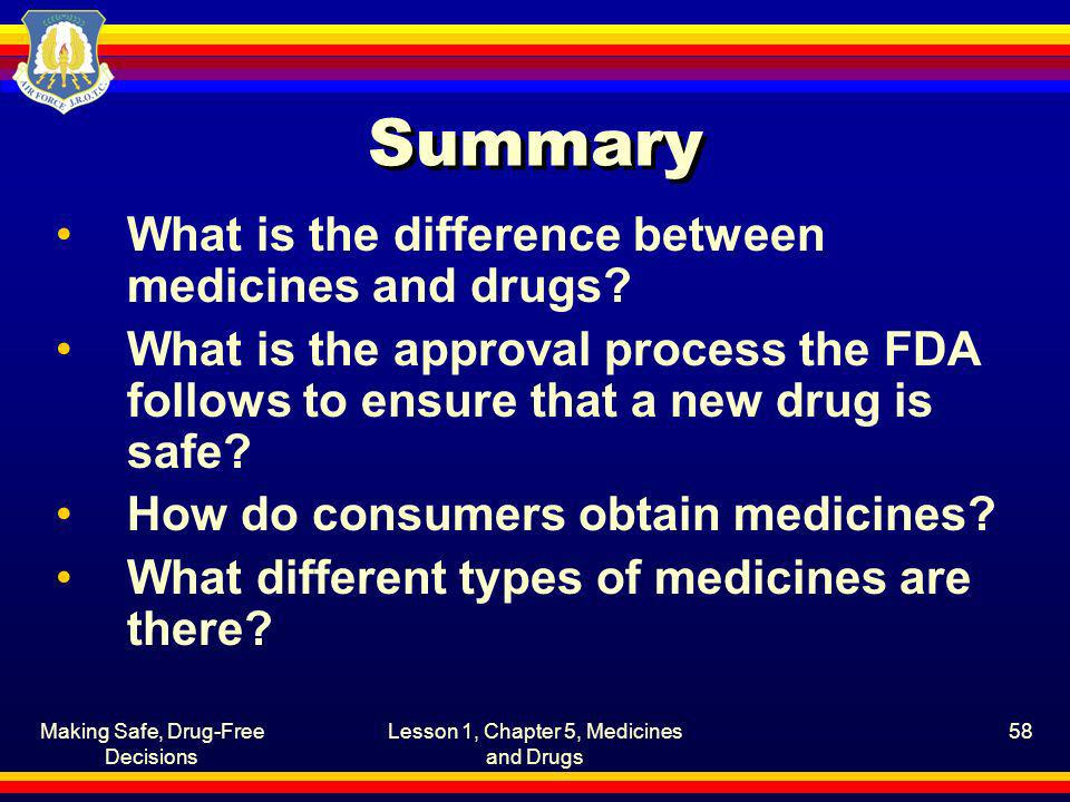 Summary What is the difference between medicines and drugs