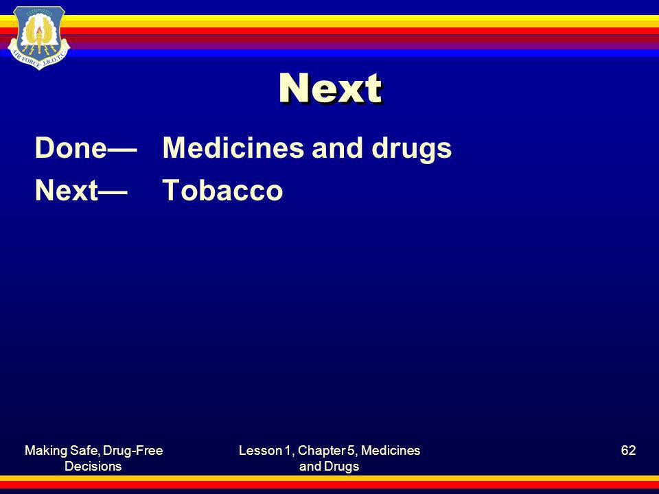 Next Done— Medicines and drugs Next— Tobacco