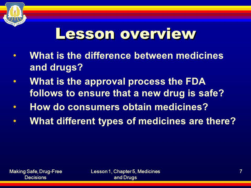 Lesson overview What is the difference between medicines and drugs