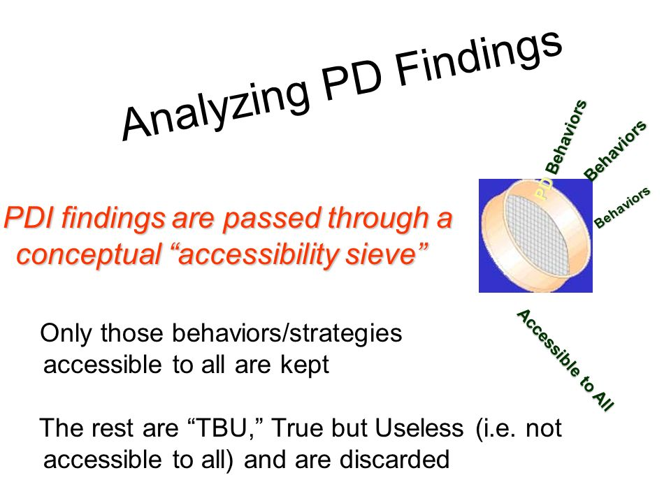 Analyzing PD Findings PD Behaviors. Behaviors. PDI findings are passed through a conceptual accessibility sieve
