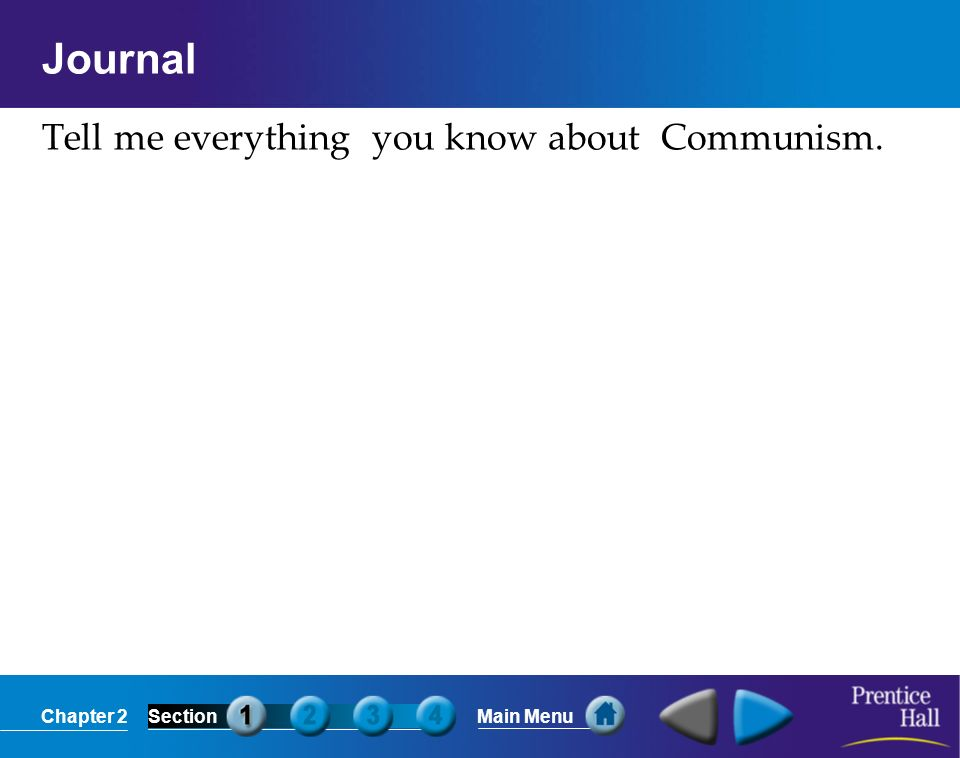 Journal Tell me everything you know about Communism.