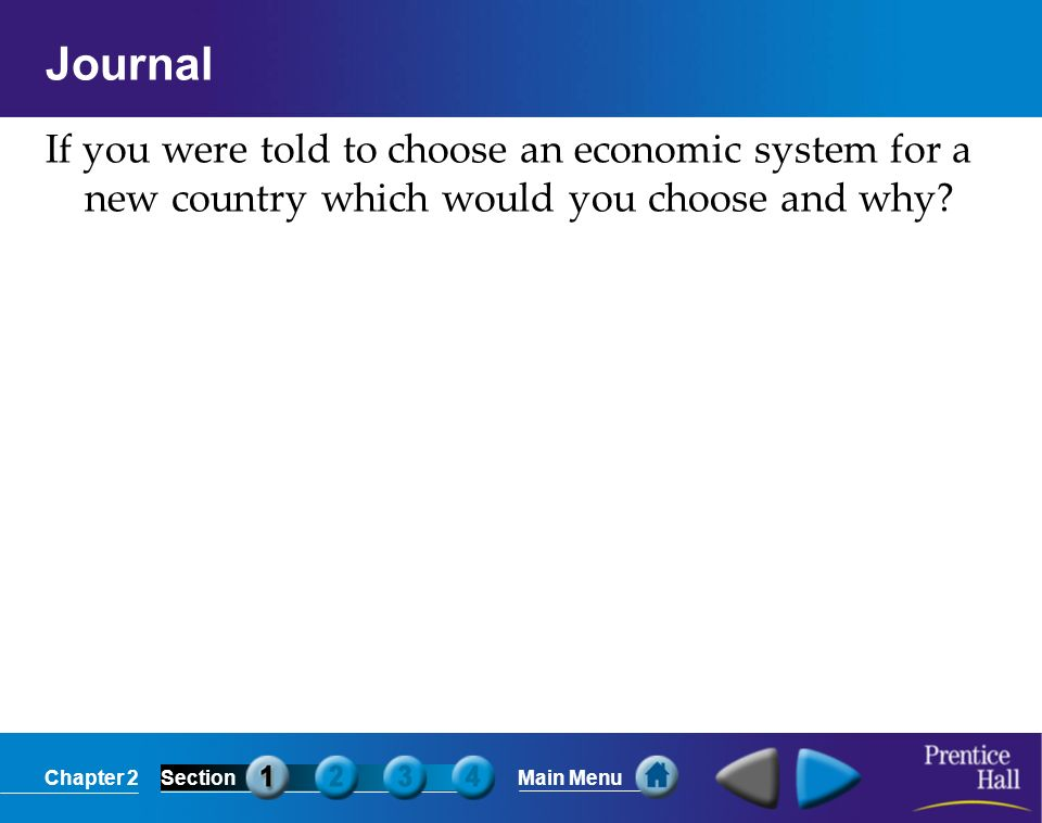 Journal If you were told to choose an economic system for a new country which would you choose and why
