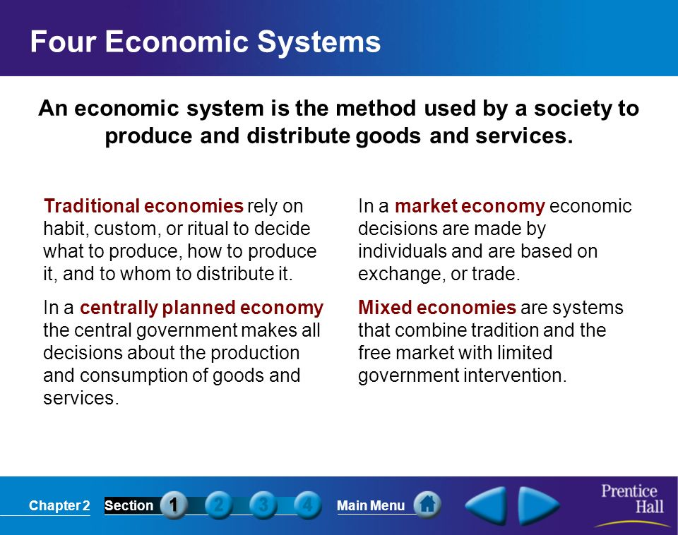 Four Economic SystemsAn economic system is the method used by a society to produce and distribute goods and services.