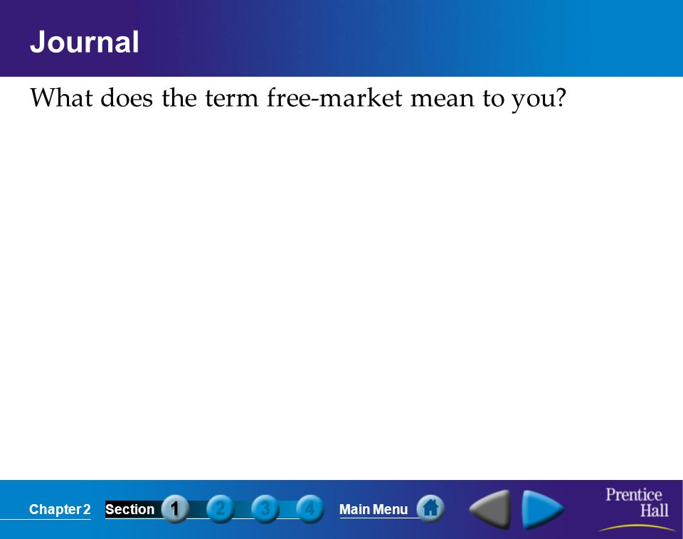 Journal What does the term free-market mean to you