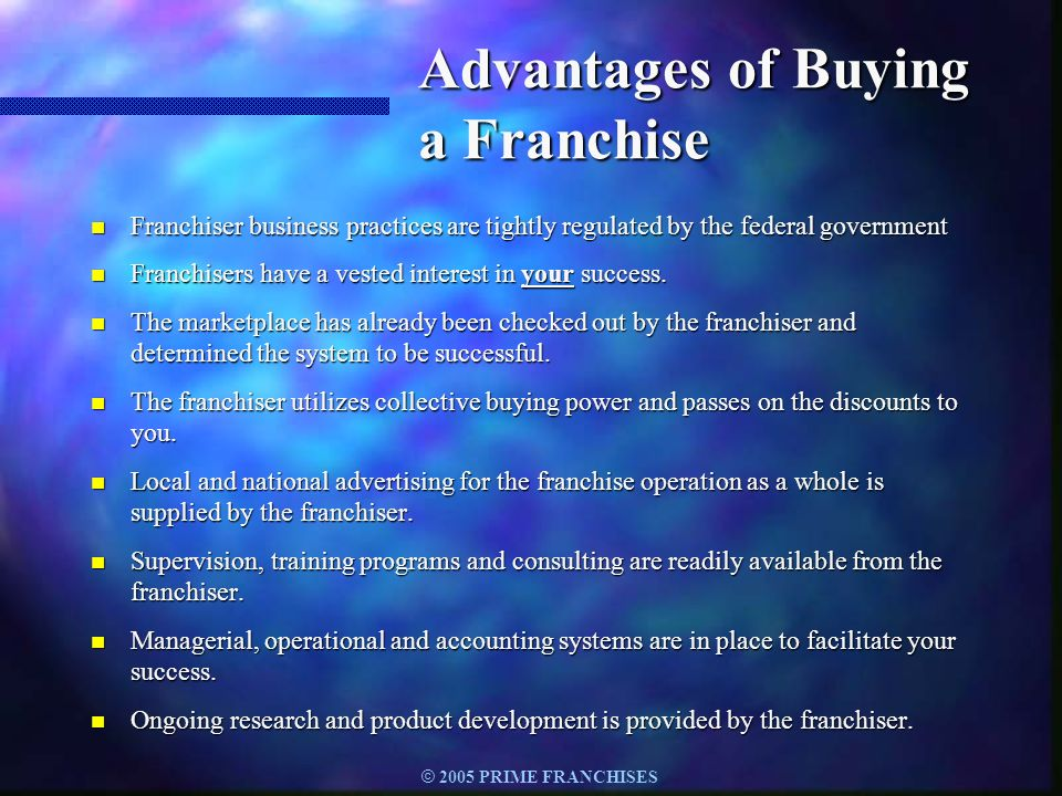 Advantages of Buying a Franchise
