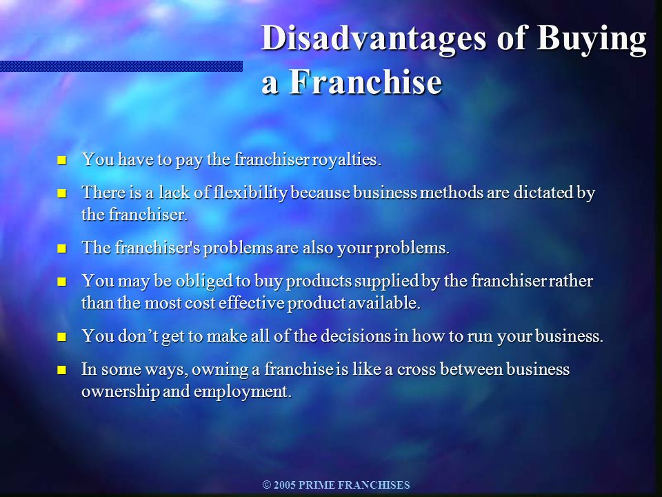 Disadvantages of Buying a Franchise