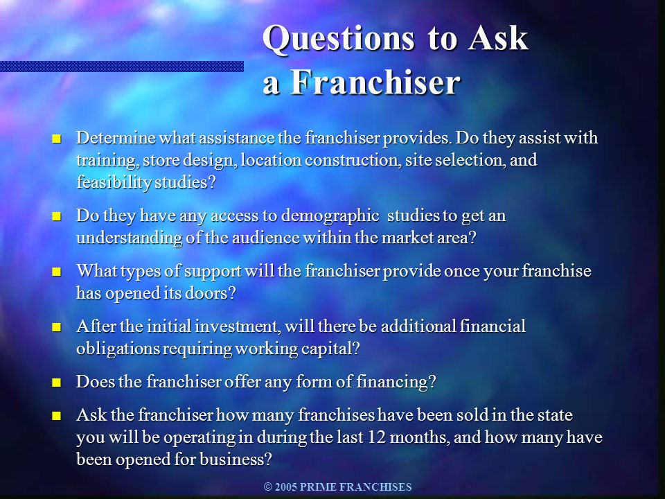 Questions to Ask a Franchiser