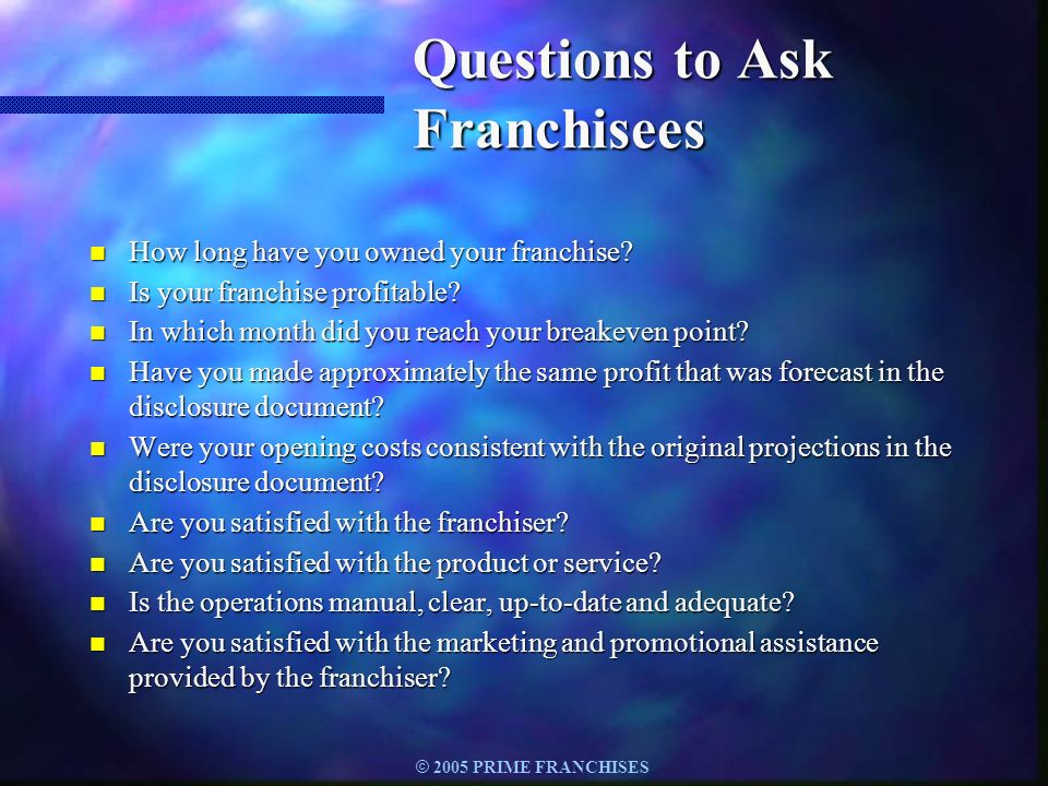 Questions to Ask Franchisees
