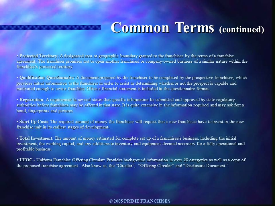 Common Terms (continued)