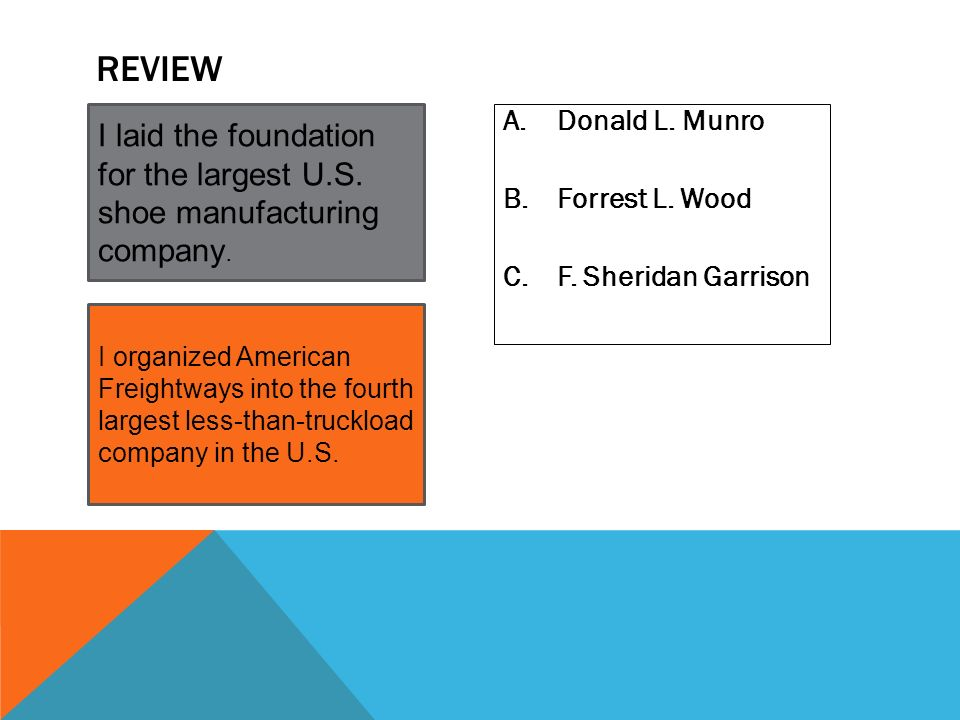 Review I laid the foundation for the largest U.S. shoe manufacturing company. Donald L. Munro. Forrest L. Wood.