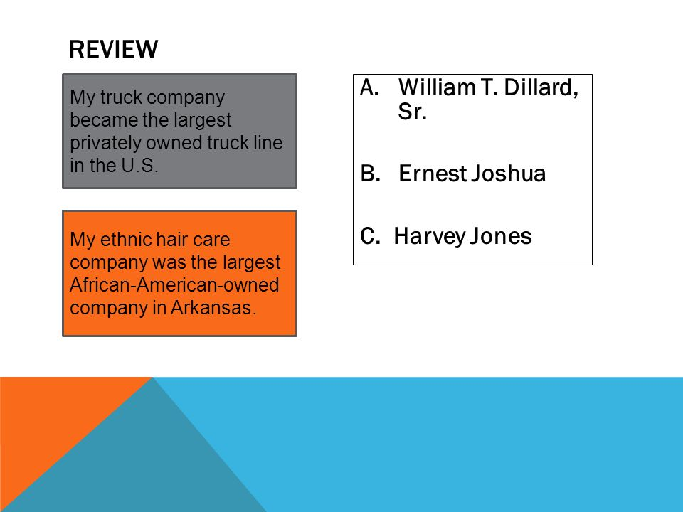 Review William T. Dillard, Sr. Ernest Joshua C. Harvey Jones