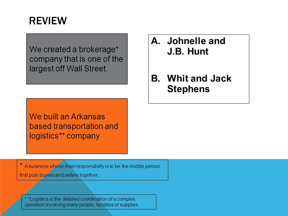 Review Johnelle and J.B. Hunt Whit and Jack Stephens