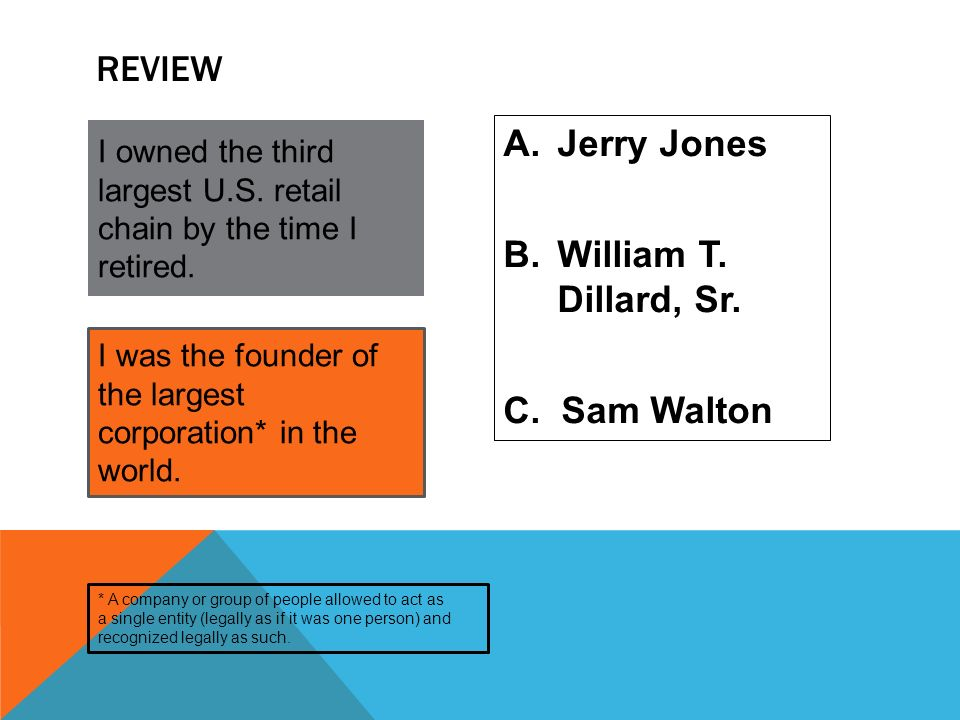 Review Jerry Jones William T. Dillard, Sr. C. Sam Walton