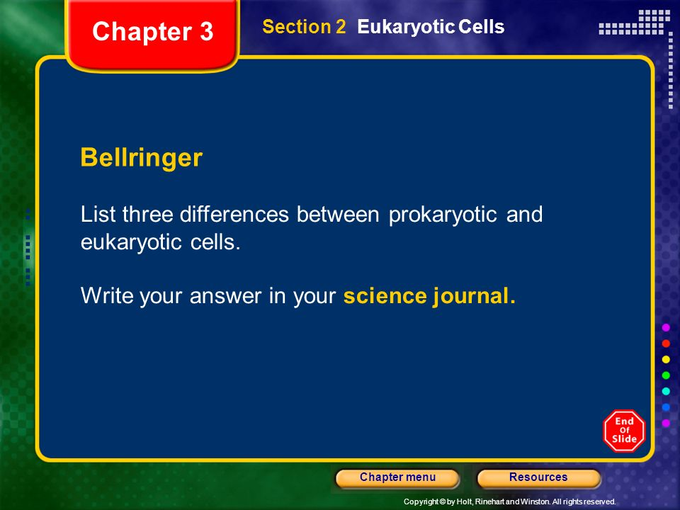Chapter 3 Section 2 Eukaryotic Cells. Bellringer. List three differences between prokaryotic and eukaryotic cells.