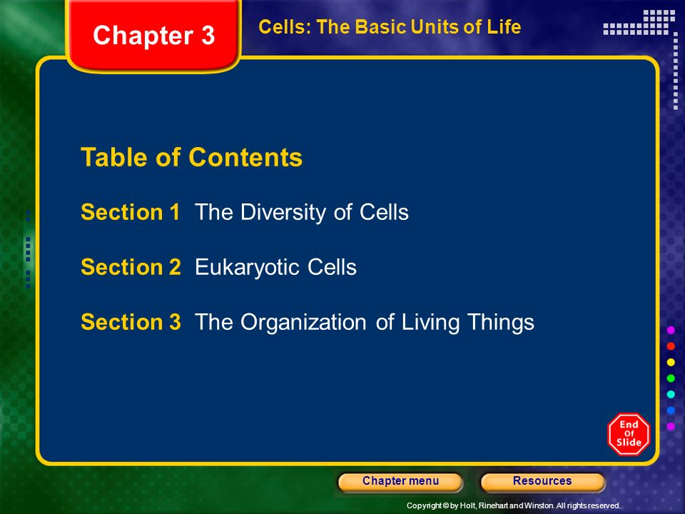 Chapter 3 Table of Contents Section 1 The Diversity of Cells