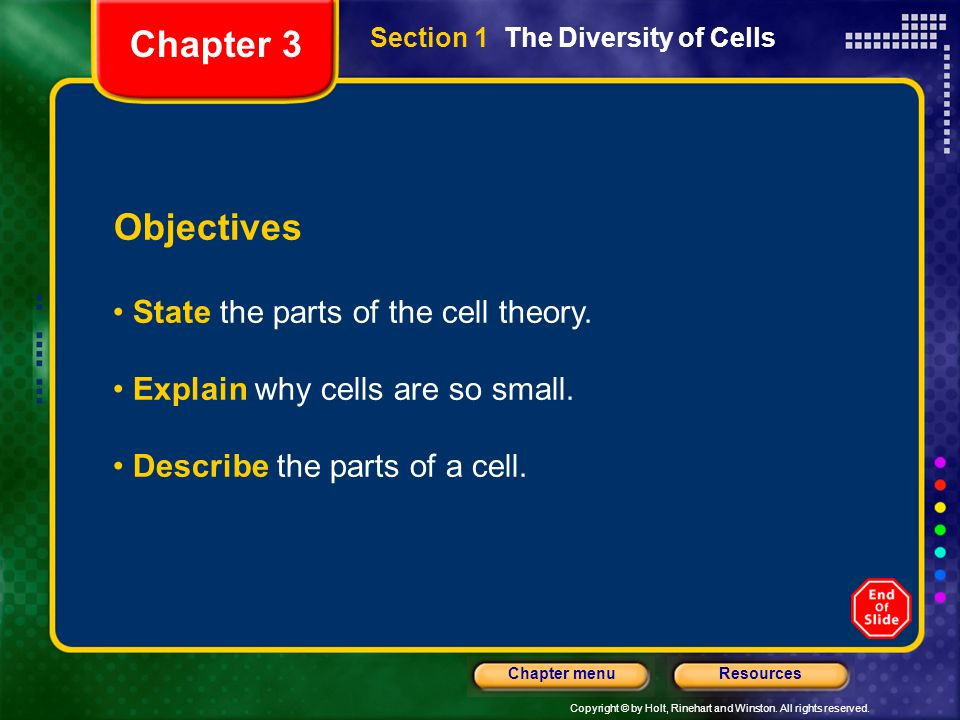 Chapter 3 Objectives State the parts of the cell theory.