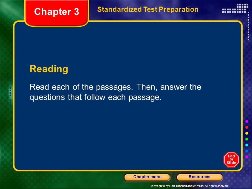 Chapter 3 Standardized Test Preparation. Reading.