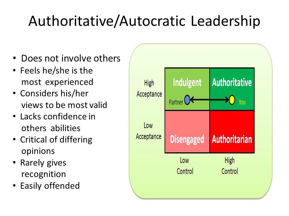 Authoritative/Autocratic Leadership