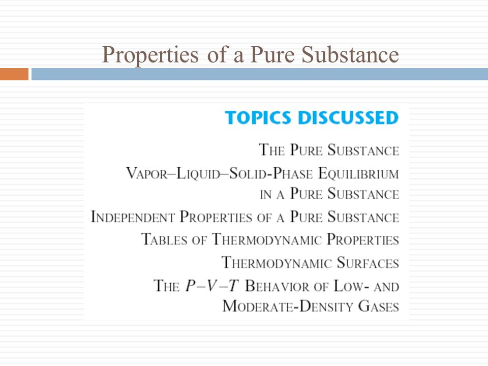 Properties of a Pure Substance