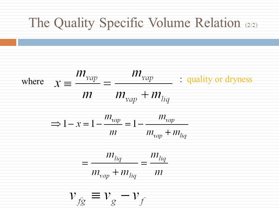 The Quality Specific Volume Relation (2/2)