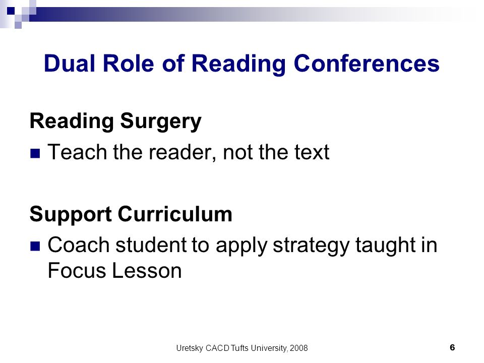 Dual Role of Reading Conferences