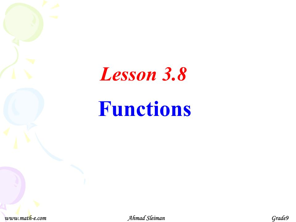 Lesson 3.8 Functions