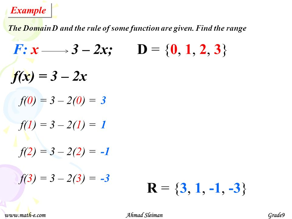 F: x 3 – 2x; D = {0, 1, 2, 3} f(x) = 3 – 2x R = {3, 1, -1, -3} f(0) =