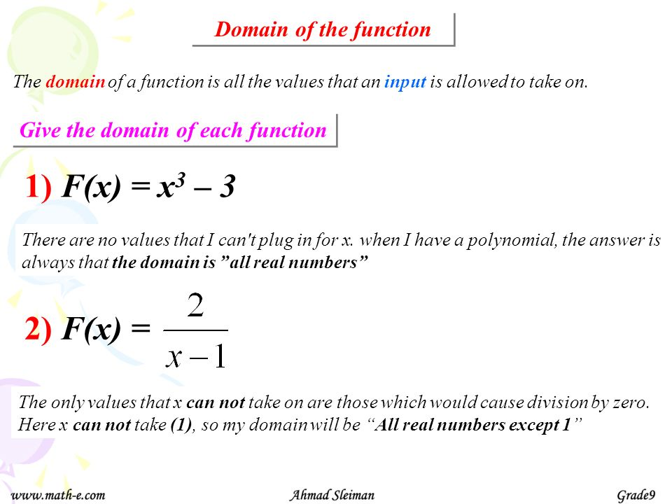 1) F(x) = x3 – 3 2) F(x) = Domain of the function